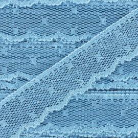 Ruban Dentelle festonnée Point d'esprit - bleu maya x 1m