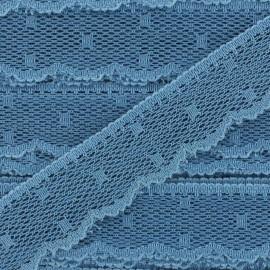 Ruban Dentelle festonnée Point d'esprit - bleu guède x 1m