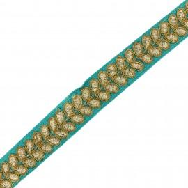 Ruban galon India Aloki - bleu paon x 50cm