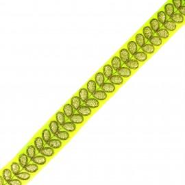 Ruban galon India Aloki - jaune fluo x 50cm