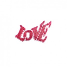 Amour à la plage embroidered iron-on patch - love rose