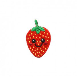Funny fruit embroidered iron-on patch - strawberry