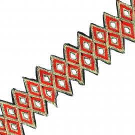 Guipure lace ribbon India  Abha - red x 50cm