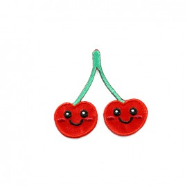Funny fruit embroidered iron-on patch - cherry