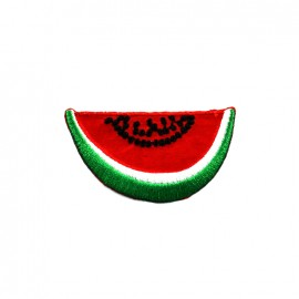 Funny fruit embroidered iron-on patch - watermelon slice