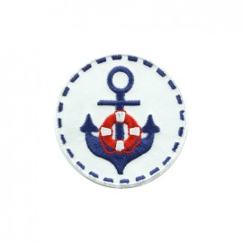 Phare breton embroidered iron-on patch - white round