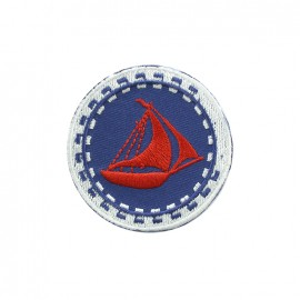 Phare breton embroidered iron-on patch - sailboat