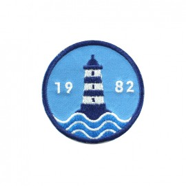 Phare breton embroidered iron-on patch - 1982