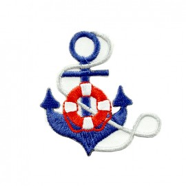 Phare breton embroidered iron-on patch - anchor