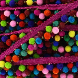 India pompom braid trimming 6 mm - multicolor pink x 50cm