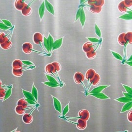 Oilcloth Fabric - Cherry / Silver x 30cm