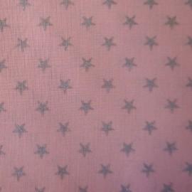 Tissu batiste Stalla rose étoiles argent x 10cm