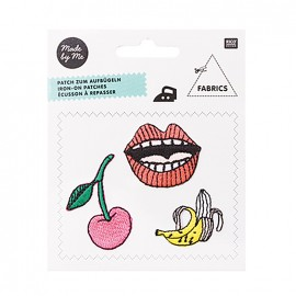 Magical summer iron-on patch - cherry mouth banana