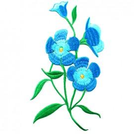 Thermocollant brodé Elegante nature - amaryllis bleu