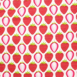 Tissu coton popeline  La gourmandise des fraises - Blanc/Rouge x 10 cm