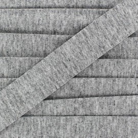 Plain cotton jersey bias binding 20mm - mocked grey x 1m
