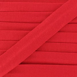 Plain cotton jersey bias binding 20mm - red x 1m