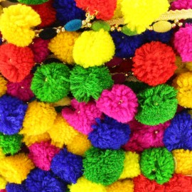 Ruban galon perle pompon India - Or x 50cm