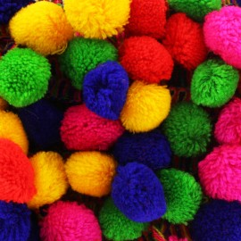 Trimming ribbon bead pompom India - Multicolor x 50cm
