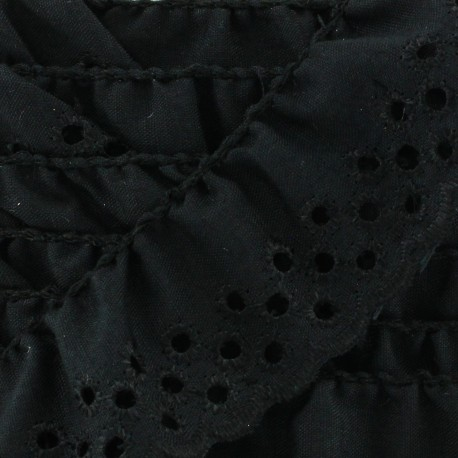 English embroidery Eloïse - black x 1m