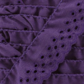 Broderie anglaise Eloïse - violet x 1m