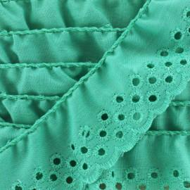 Broderie anglaise Eloïse - vert opaline x 1m