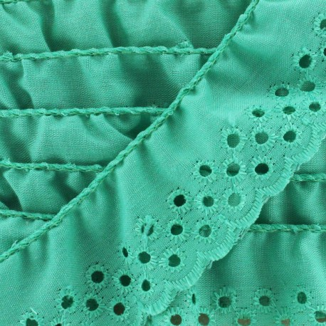 English embroidery Eloïse - opaline green x 1m