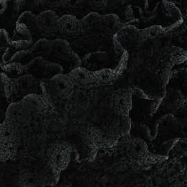 Dentelle froufrou sur ruban satin - noir x 1m