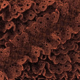 Lace froufrou on satiny ribbon - brown x 1m