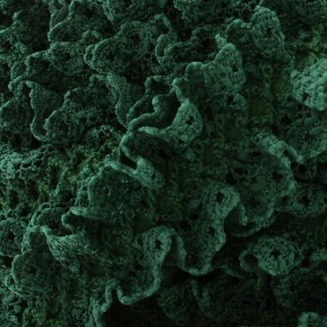 Lace froufrou on satiny ribbon - dark green x 1m