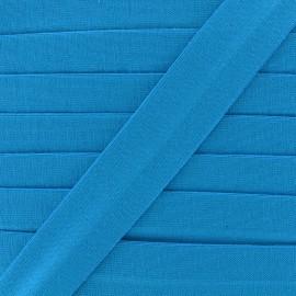 Plain cotton jersey bias binding 20mm - turquoise x 1m