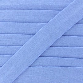 Plain cotton jersey bias binding 20mm - bleuet x 1m