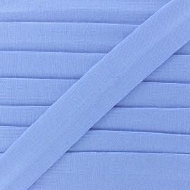 Plain cotton jersey bias binding 20mm - bleuet x 1m