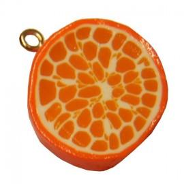 Fimo charm, slice of orange - orange