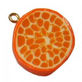 Fimo charm, slice of orange - orange