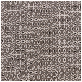 Coated cotton fabric Saki - taupe/white x 10cm