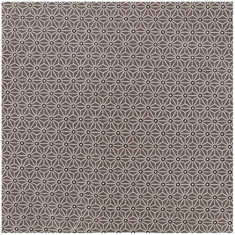 Tissu enduit coton Saki - taupe/blanc x 10cm