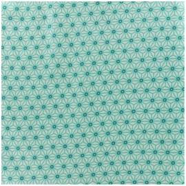 Coated cotton fabric Saki - ivory/aqua x 10cm