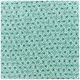 Tissu enduit coton Saki - ivoire/aqua x 10cm
