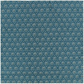 Coated cotton fabric Saki - teal/white x 10cm