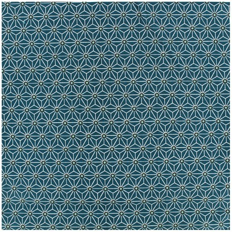 Coated cotton fabric Saki - teal/white x 10cm