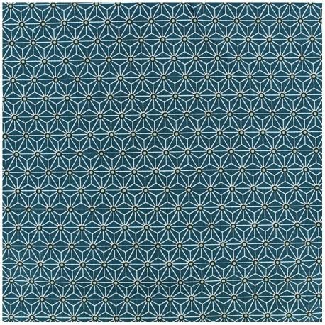 Tissu enduit coton Saki - canard/blanc x 10cm