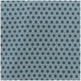 Coated cotton fabric Saki - white/teal x 10cm