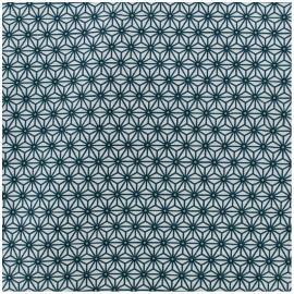Coated cotton fabric Saki - white/teal x 10cm