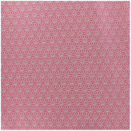 Coated cotton fabric Saki - pink/ivory x 10cm