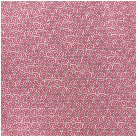 Tissu enduit coton Saki - rose/ivoire x 10cm