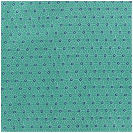 Coated cotton fabric Saki - aqua/ivory x 10cm