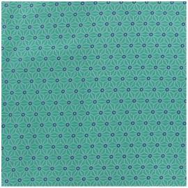 Tissu enduit coton Saki - aqua/ivoire x 10cm