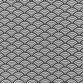 Tissu enduit coton Sushis - gris x 10cm