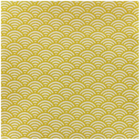 Coated cotton fabric Sushis - yellow x 10cm